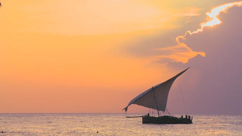A beautiful shot of a dhow sailboat sailing along the... Stock Video Footage