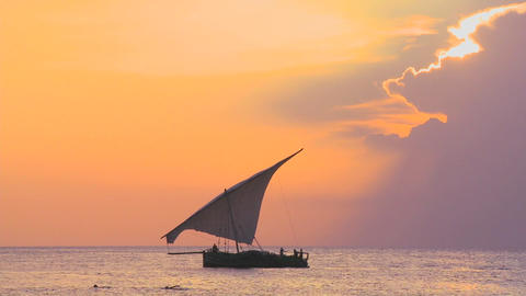 A beautiful shot of a dhow sailboat sailing along the coast of Zanzibar against a beautiful sunset Footage