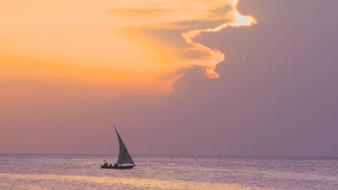 A beautiful dhow sailing boat glides along the coast of Zanzibar at dusk Footage