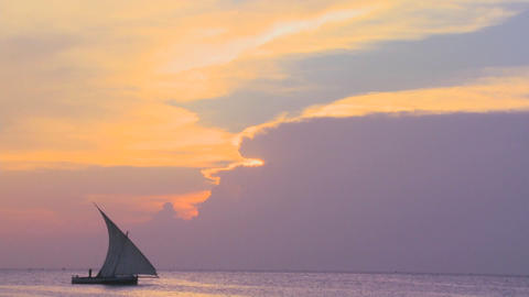A dhow sailboat sails along the coast of Zanzibar during a beautiful tropical sunset Footage