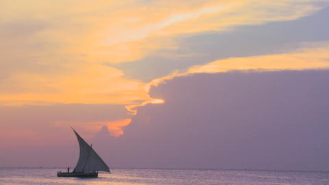 A dhow sailboat sails along the coast of Zanzibar during... Stock Video Footage