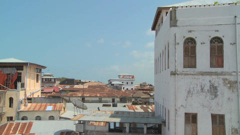 Time lapse shot looking over the rooftops of Stone Town, Zanzibar Footage