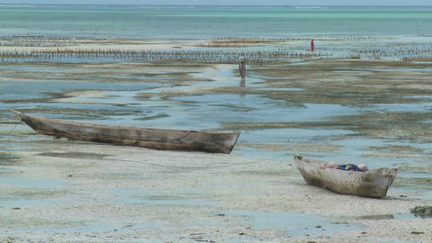 Women walk out into a tidal bay at low tide with dugout boats in foreground Footage