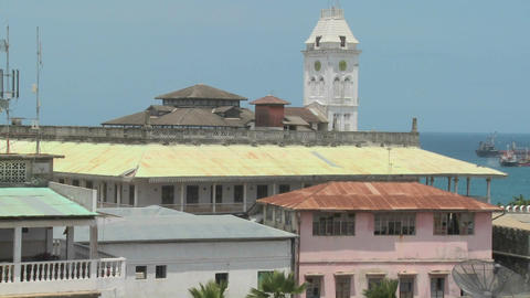 A view over the old port of Stone Town, Zanzibar Stock Video Footage