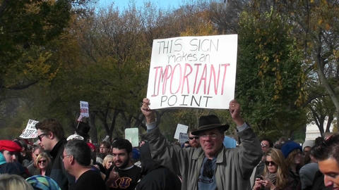 An ironic sign announces its own importance at the Jon Stewart Stephen Colbert rally in Washington D Footage