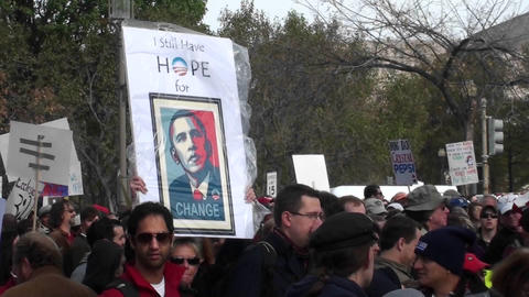 An Obama hope sign at a campaign rally Footage