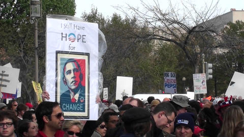 An Obama hope sign at a campaign rally Stock Video Footage