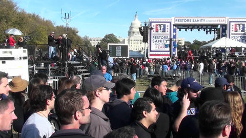 The Jon Stewart Stephen Colbert rally in Washington D.C Footage