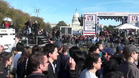 The Jon Stewart Stephen Colbert rally in Washington D.C Stock Video Footage