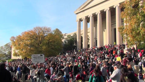 Huge crowds at the Jon Stewart Stephen Colbert rally in Washington D.C Footage