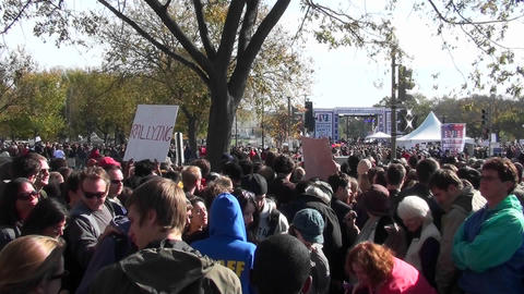 Large crowds gather on the Washington D.C. mall during a political protest Footage