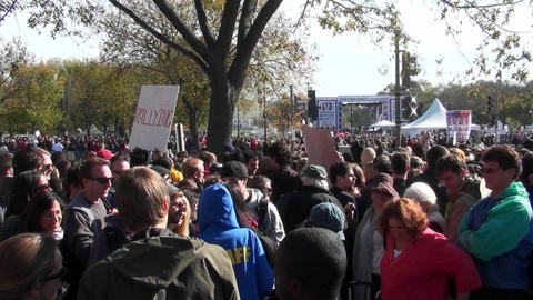 Large crowds gather on the Washington D.C. mall during a... Stock Video Footage