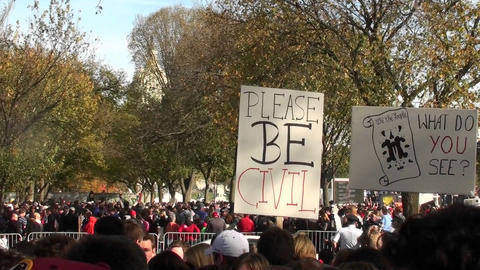 A sign at a political rally implores people to please be civil Footage