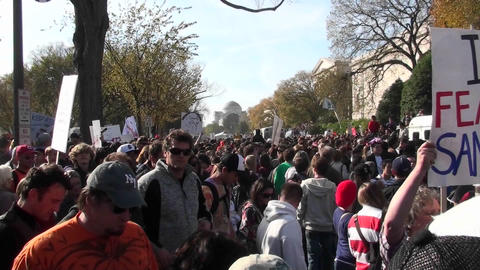 Huge crowds walk in a demonstration in Washington D.C Footage