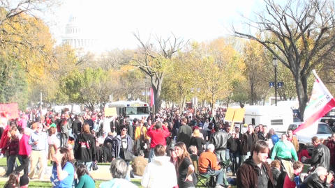 Large crowds gather around the Capital building in... Stock Video Footage