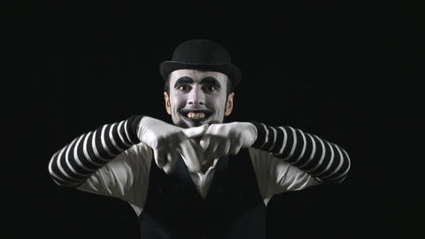 Young scary crazy evil mime Footage