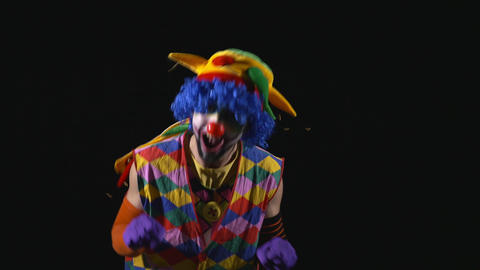 Young happy hilarious funny clown making funny faces Live Action