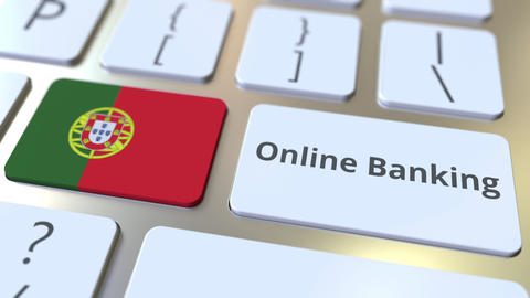 Online Banking text and flag of Portugal on the keyboard. Internet finance ライブ動画