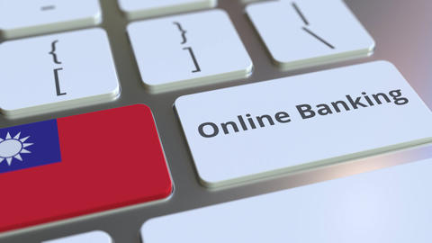 Online Banking text and flag of Taiwan on the keyboard. Internet finance related ライブ動画