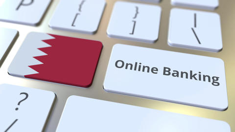 Online Banking text and flag of Bahrain on the keyboard. Internet finance ライブ動画
