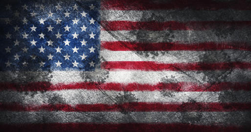 Coronavirus outbreak pandemic all over United States of America . Infected American flag, destroyed Fotografía