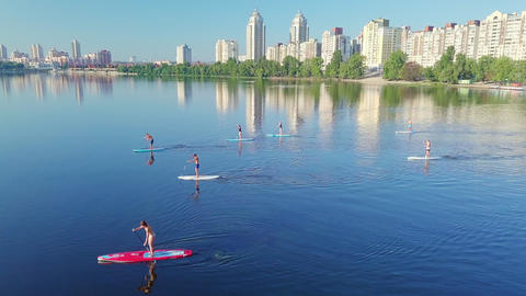 Group of people SUP surfing on the river against the backdrop of the city and houses on a sunny Live Action