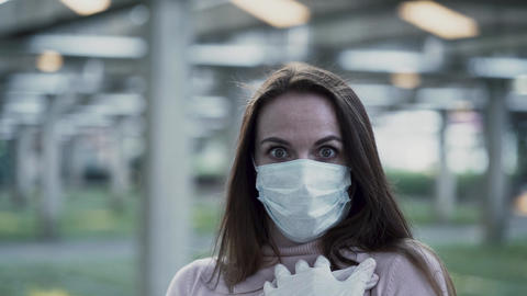 Portrait of a girl in a protective mask a great fright from the coronavirus Live Action