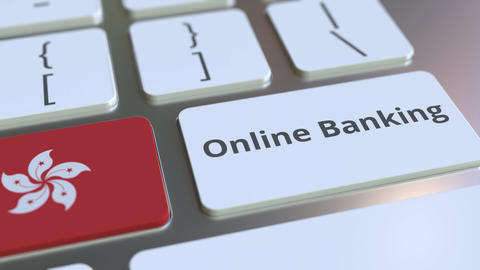 Online Banking text and flag of Hong Kong on the keyboard. Internet finance ライブ動画