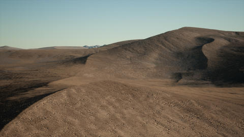Aerial view on big sand dunes in Sahara desert at sunrise Live Action