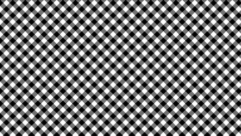 Gingham check diagonal pattern of black and white. Seamless loop Videos animados