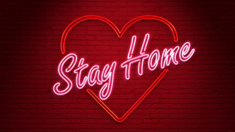 Looped Stay Home Neon on the wall in 4K GIF