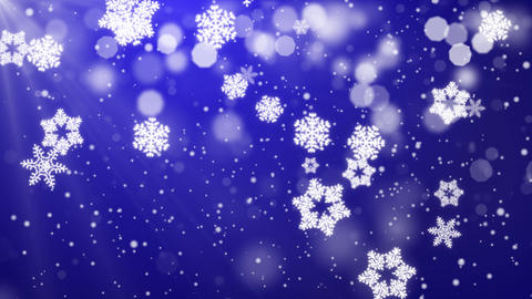 Blue Abstract Falling snow flakes Snowflakes Particles 4K Loop Animation Live Action
