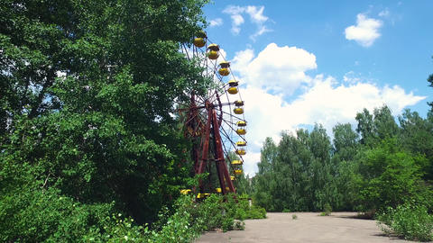 Chernobyl Ukraine, Pripyat. Abandoned Ferris Wheel in Empty Amusement Park Live Action