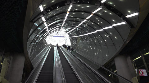 Escalator subway in Warsaw. Poland. 4K Footage