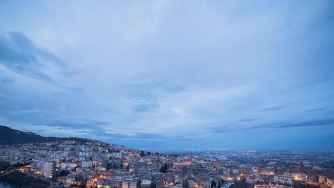 Sunrise over the city, Tivoli, Italy. Time Lapse Footage
