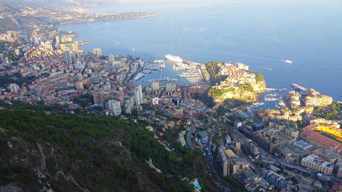 Aerial Panoramic View of the Principality of Monaco Footage
