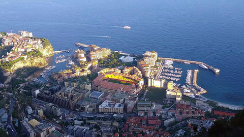 Aerial Panoramic View of the Monaco-Ville and Fontvieille District Footage
