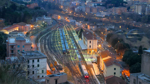 Arriving by train from Rome at dawn. Station Tivoli. Italy Footage