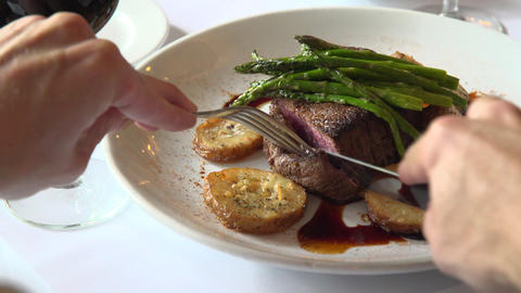 Fillet mignon being cut Footage