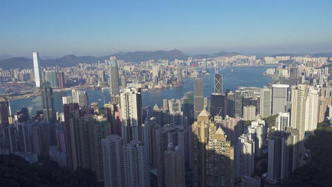 Panorama of Hong Kong, view from Victoria peak Footage