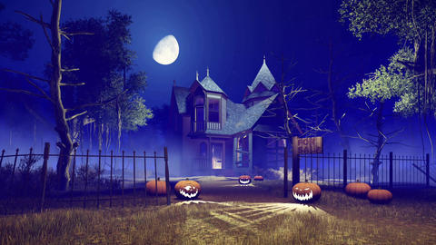 Spooky Halloween haunted house at foggy night with big moon Footage