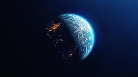Planet Earth Slowly Rotating day to night Loop Animation Live Action