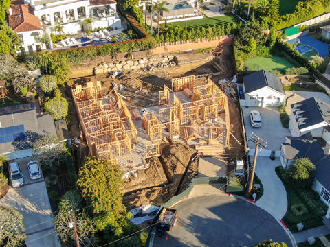 Aerial view of luxury wood type villa under construction Photo