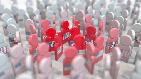 People icons with the American flags. Social distancing as infectious disease Live Action
