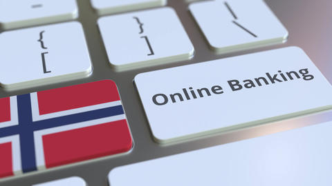 Online Banking text and flag of Norway on the keyboard. Internet finance related Live Action