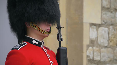 British guard soldier on duty, close up footage Live Action