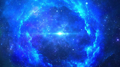 Glowing Deep Space Traveling Nebula with Stars Live Action