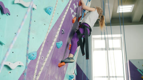 Little girl climbing up artificial wall in sports center concentrated on extreme Live Action