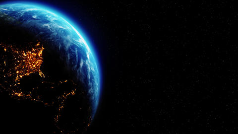 Realistic Motion Graphics of Planet Earth Rotating in the Night Loop Animation Live Action
