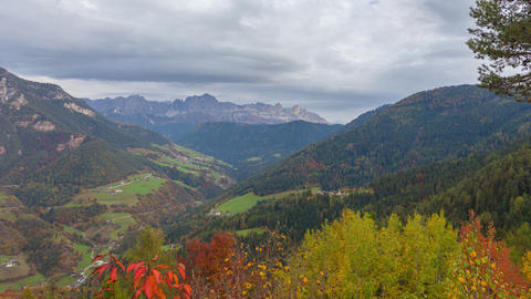 Autumn timelapse of the Val di Tires, Dolomites, Italy Live Action